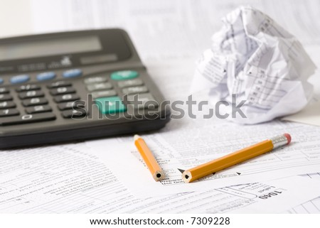 Tax time frustrations - stock photo