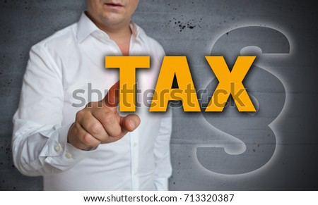 Tax touchscreen is operated by man. #713320387