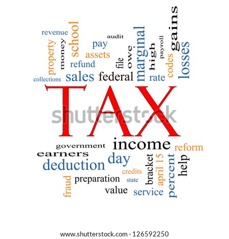 Tax Word Cloud Concept with great terms such as rate, federal, state, income, codes and more.