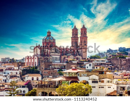 Taxco cathedral, Mexico #1113240452