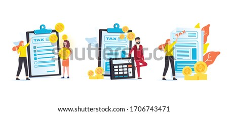 Taxes and fees paying. Financial charge, obligatory payment calculating. Personal income tax, doing your taxes, tax credit metaphors. Isolated concept metaphor illustrations. Business finance