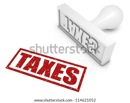 TAXES rubber stamp. Part of a series of stamp concepts.