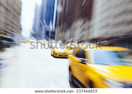 taxi cab in new york. blurry...