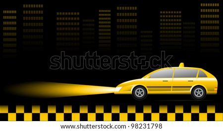 taxi car on urban landscape at night