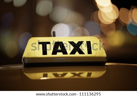 Taxi car - selective focus