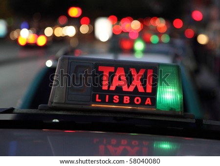 Taxi in the capital city of Portugal - Lisbon - stock photo