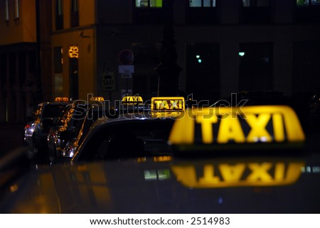 taxi rank at night - could be anywhere...