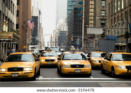Taxi row on Park Avenue in New York City