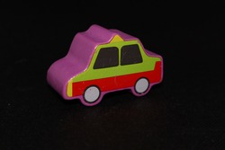 Taxi shaped toy wooden stick