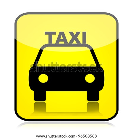 Taxi sign isolated over white background