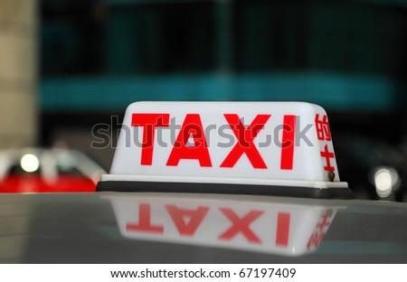 Taxi sign of a Hong Kong cab