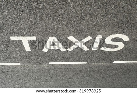 Taxi stand sing on the road, England UK. #319978925