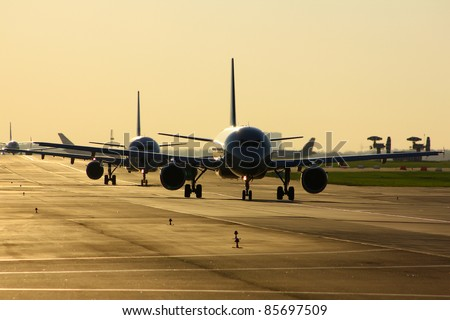 Taxiing to runway - stock photo