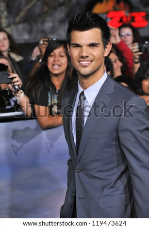 "Taylor Lautner at the world premiere of his movie ""The Twilight Saga: Breaking Dawn - Part 2"" at the Nokia Theatre LA Live. November 12, 2012  Los Angeles, CA Picture: Paul Smith"