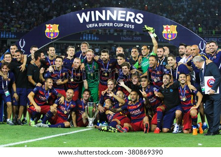 Tbilisi, Georgia - August 11: Group photo of players of FC Barcelona after winning the UEFA Super Cup at the Dinamo Arena on August 11, 2015 in Tbilisi, Georgia.