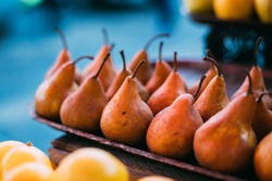 Tbilisi, Georgia. Close View Of Fresh Pears In Tray On Showcase Of Local Food Market, Bazar.