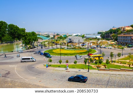 TBILISI, GEORGIA - JULY 18, 2014: Architecture and traffic of Tbilisi, Georgia. Tbilisi is the capital and the largest city of Geogia with 1,5 mln people population #208530733