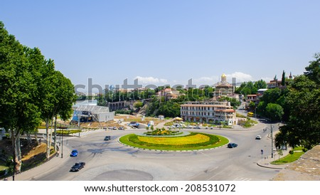 TBILISI, GEORGIA - JULY 18, 2014: Downtown of Tbilisi, Georgia. Tbilisi is the capital and the largest city of Geogia with 1,5 mln people population #208531072