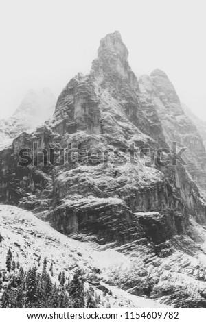 Te Ci-me di Lave-redo, three mountain peaks in Te Ci-me di Lava-redo National Park, Pesto Dolomite, South Tyrol, Italy Alps