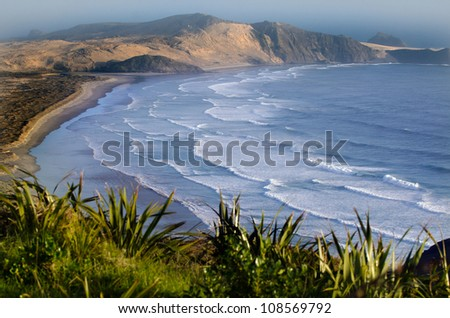 Te Werahi beach at the edge of the northland, New Zealand.