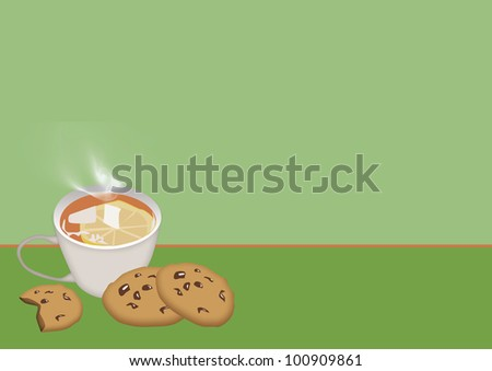 Tea and cookie background with space (poster, web, leaflet, magazine)