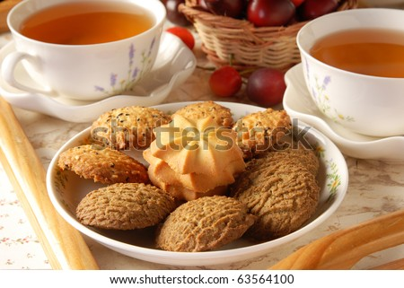 Tea and cookies - stock photo
