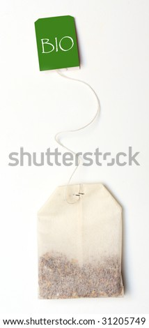 Tea bag on white background and easy to remove the text