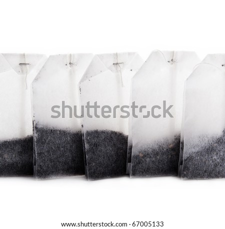 Tea bags isolated on white