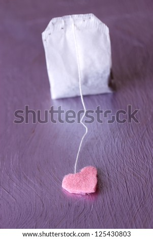 Tea bags with blank heart-shaped