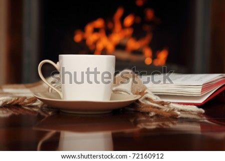 Tea by the fireplace