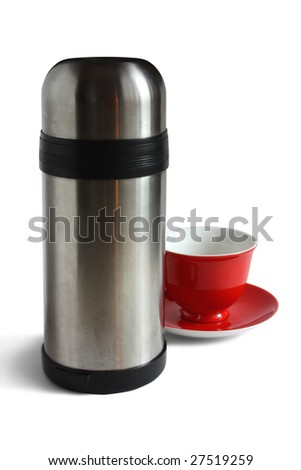 Tea cap and thermos. Isolated with clipping path
