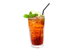 tea cocktail cola with lemon and ice on a white background isolated
