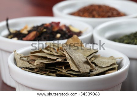 Tea collection - focus on dried ginkgo leaves