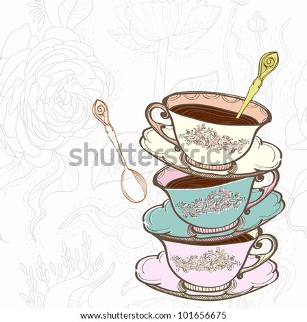 tea cup background with spoon, illustration