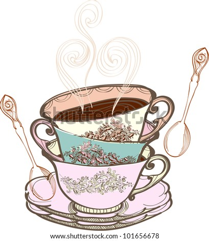 Fancy Teacup Clip Art tea cup background with spoon