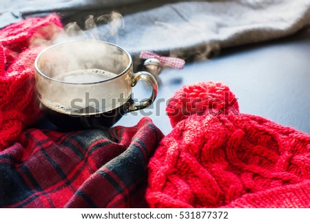 Tea Cup Hot Steam Tea Window Winter Autumn Time Christmas New Year Tinted Toned Photo Knitting Red Thing