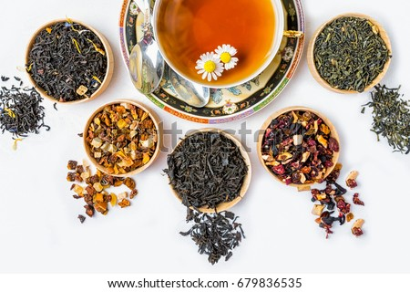 Tea, Cup of tea, various kinds of tea, tea on the table