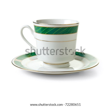 Tea cup on a white background. Isolated path included