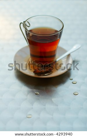 Tea cup with hot spilt tea