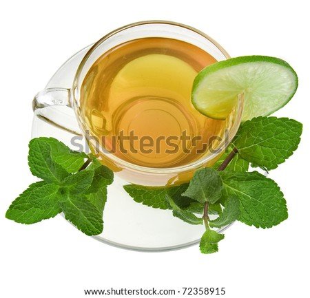 tea cup with lime and mint herb  isolated over white background