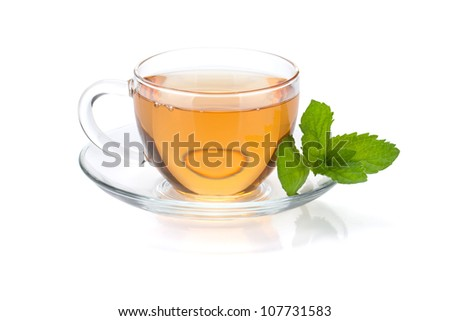 Tea cup with mint. Isolated on white background