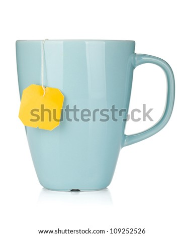 Tea cup with teabag. Isolated on white background