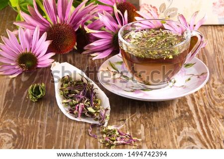 Tea drink with Echinacea purpurea (Echinacea purpurea) dried folk medicine