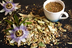 tea from the leaves of the passionflower and a cup of tea