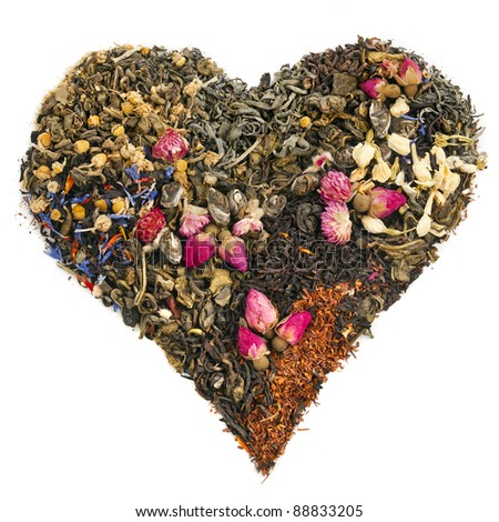 tea heart of different tea : green, black, floral , herbal  isolated on white background