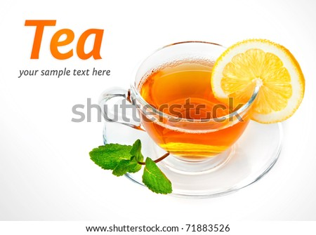 tea in cup with leaf mint and lemon isolated on white background
