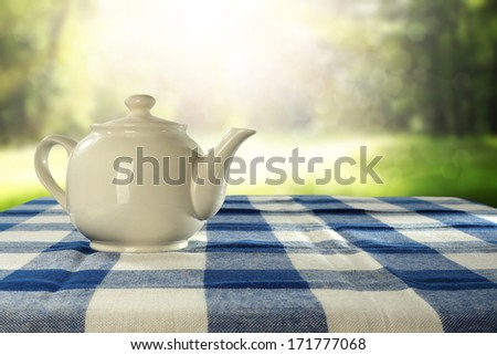 tea in garden and sunset