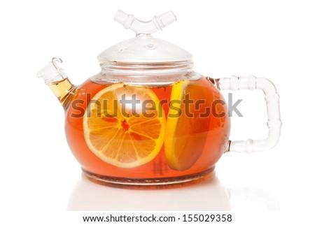 Tea in Glass Teapot With Lemon Slice