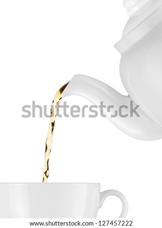 Tea is poured into the cup