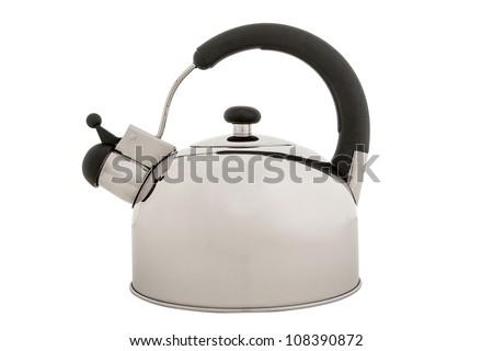 Tea kettle isolated on white background, metal teapot